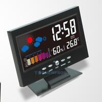 Funk Wetterstation Tischuhr Snooze Wecker Thermometer Hygrometer LCD Farbdisplay