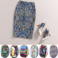 Womens Summer Elegant Floral Back Split Party Office Knee Length Pencil Skirt