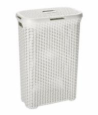 Large Laundry Bin Basket Washing Clothes Toys Accessory Storage Hamper 60L White