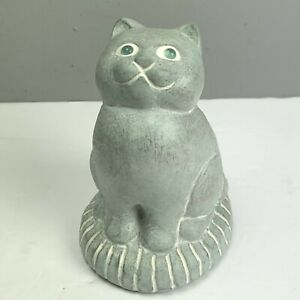 Isabel Bloom Cat Figurine Statue 1990 Stone Signed Bead Eyes Sitting on Pillow