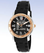 TED LAPIDUS Women's A0532HNRN Two-Tone Crystal Accent Black Silicone Swiss Watch