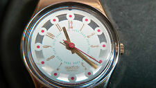 Swatch Watch, NOS Vintage red leather band, gold white dial. collector's item