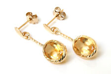 9ct Gold Oval Citrine drop dangly Earrings Gift Boxed Made in UK