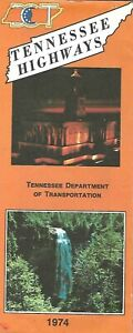 1974 TENNESSEE Official State Highway Road Map Johnson City Memphis Knoxville
