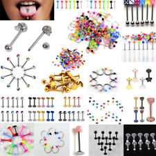Tongue Bars Surgical Steel Barbell Rings Mixed Ball Body Piercing Jewellery Lot