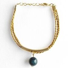 CAPIM ORO VEGETABLE GOLD BRACELET GOLD PLATED BLUE BAND AGATE STRANDS ADJUSTABLE