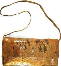 Vtg Women Distressed Handbag Snake Skin Brown Detachable Strap Leather Lined