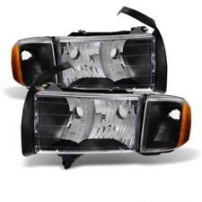 Dodge 99-01 Ram 1500 Sport Model Black Housing Replacement Headlights Pair Set