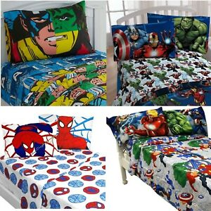 nEw MARVEL COMICS BED SHEETS SET - Avengers Spiderman Bedding Sheets Pillowcase
