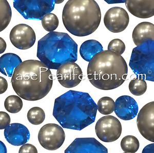 Royal Blue Gems & Silver Pearls - No Hole Jumbo/Assorted Sizes Vase Decorations