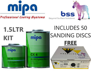 MIPA CX 4 EXPRESS CLEARCOAT WITH HX 4 (1.5LTR KIT) + 50 SIAONE SANDING DISCS FOC
