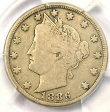 1886 Liberty Nickel 5C - PCGS F12 - Rare Key Date Certified Coin!