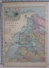 1891 ANTIQUE MAP ~ RUSSIA IN EUROPE ST PERTERSBURG ESTHONIA FINLAND