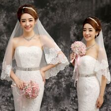 150cm Women Bridal Wedding Veil White One Layer Lace Flower Edge Appliques New