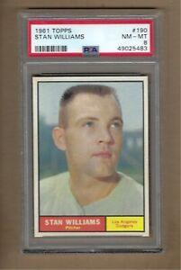 1961  TOPPS   STAN  WILLIAMS  #  190   PSA  8