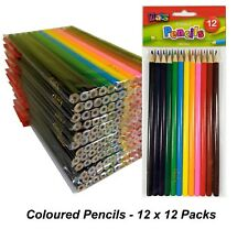 12 Packs x 12 Colour / Coloured Pencils Round Grip Art Colouring Drawing Kids