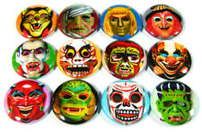 """12 Halloween MASKS One Inch 1"""" Monster Pins Badges Buttons -Vintage Cooper Creep"""