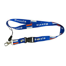 RUSSIA BLUE COUNTRY FLAG LANYARD KEYCHAIN PASSHOLDER .. NEW