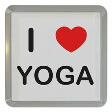 I Love Heart Yoga - Clear Plastic Tea Coaster / Beer Mat BadgeBeast