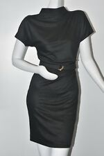 $1395 New GUCCI Gray Viscose Dress with Belt  Gold Buckle Fitted S Small