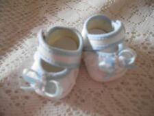 Doll Clothes 2in. Shoes White-Blue Trim fits Kewpie Cameo 10in - Berenguer 11in.