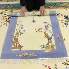 YILONG 3'x4.7' Chinese Art Deco Handmade Wool Carpet Antistatic Floral Rug