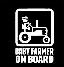 BABY ON BOARD FUTURE FARMER Sticker decal WHITE  window laptop etc FREE US SHIP