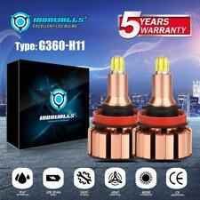 IRONWALLS 2000W H11 H9 H8 LED Headlight Bulbs Low Beam Fog 300000LM 6500K G360
