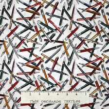 Law Library Fabric - Fancy Pen Toss Cream - Benartex Kanvas YARD