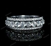 Eternity Diamond Wedding Band Ladies Round Cut 14K White Gold Over 2.00 Ct Ring
