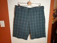 Nike Fit Dry Golf Casual Walking Shorts Mens 36 Gray Plaid Polyester Spandex