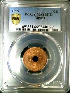 PCGS MS66RD Gold Shield-Nigeria 1959 Elizabeth II 1/2 Penny Super GEMBU Scarce