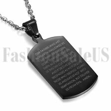 Men's English Bible Verse Black Dog Tag Stainless Steel Pendant Chain Necklace