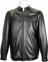 Mens Classic 100% Real Leather Casual Jacket - Black