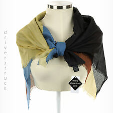 WOMEN'S Lightweight SQUARE COLORBLOCK Multi-Color SCARF Neutral Shades FRINGED