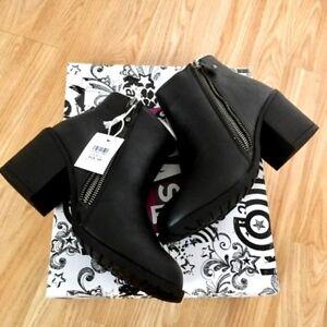 Buy1Get1HalfPrice NEW Women Ankle High Block Heel Zip Buckle Grip Shoe Boot Size
