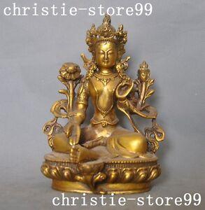 Tibetan brass Buddhism temple joss Sit lotus Kwan-Yin GuanYin green Tara statue