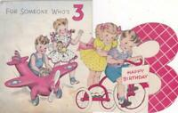 Lot 2 Vintage 1944 Norcross 3rd Birthday Cards by Artist Dorothy Grider - Used