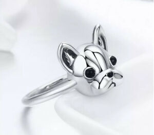 925 Sterling Silver French Bulldog Ring Size 6