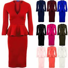 Women's V Neck 3/4 Sleeve Peplum Skirt Midi Knee Length Ladies Dress 8-24