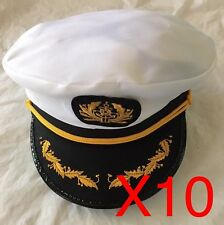10 Sea Sailor Captain Cap Hat Navy Skipper Fancy Dress Accessaries Costume