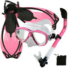 Snorkeling Dive Gear Silicone Mask 100% Dry Snorkel Open Heel Travel Fins Sets