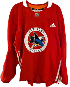 ADIDAS NHL HOCKEY AUTHENTIC PRACTICE JERSEY SAN JOSE SHARKS RED MIC CANADA 56 58