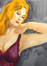 Vintage impressionist watercolor painting erotic female portrait