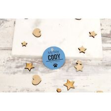 Personalised Pet Tags ID Collar Cat Dog 25mm Paw Print Custom Made Tag