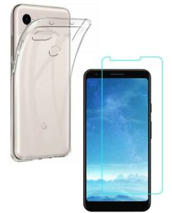 For GOOGLE PIXEL 3A CLEAR CASE + TEMPERED GLASS SCREEN PROTECTOR SHOCKPROOF 3 A