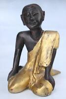 Kniende Moine Figurine (26cm) Bouddhisme Birmanie Sculpture en Bois -