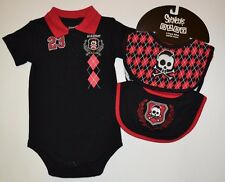 3 Piece Spencer's 0-6 Mon Argyle Mohawk Skull & Crest Bodysuit Jumper & Bib Set