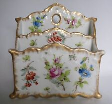 Limoges France Letter Holder / Flowers / Gold / Guerin Pouyat Elite Bawo Dotter