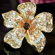Jumbo Flower Gold Plat Ring use Swarovski Crystal SR122